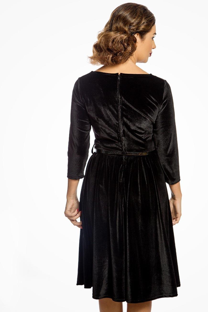 be06ca669802 Black Velvet Swing Dress - Long Sleeved Prom Dress