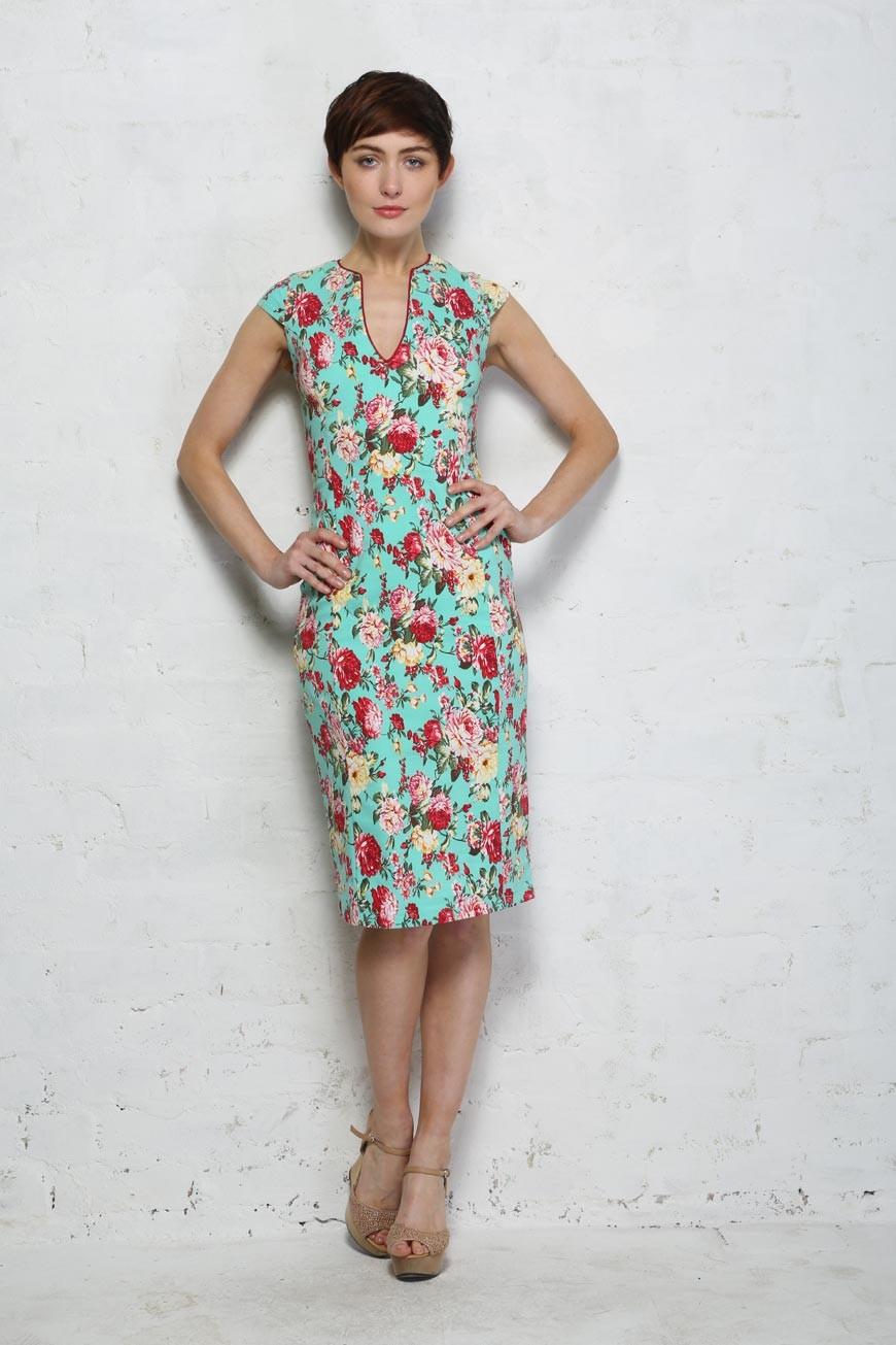 Eucalyptus Jasmine Dress Floral Wiggle Dress