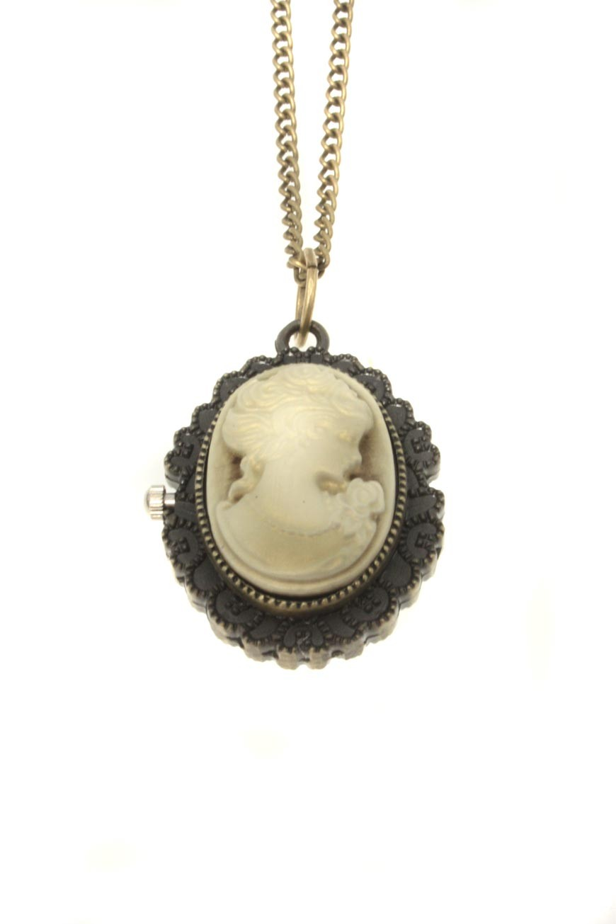 Cameo Pocket Watch Vintage Style Necklace Pendant