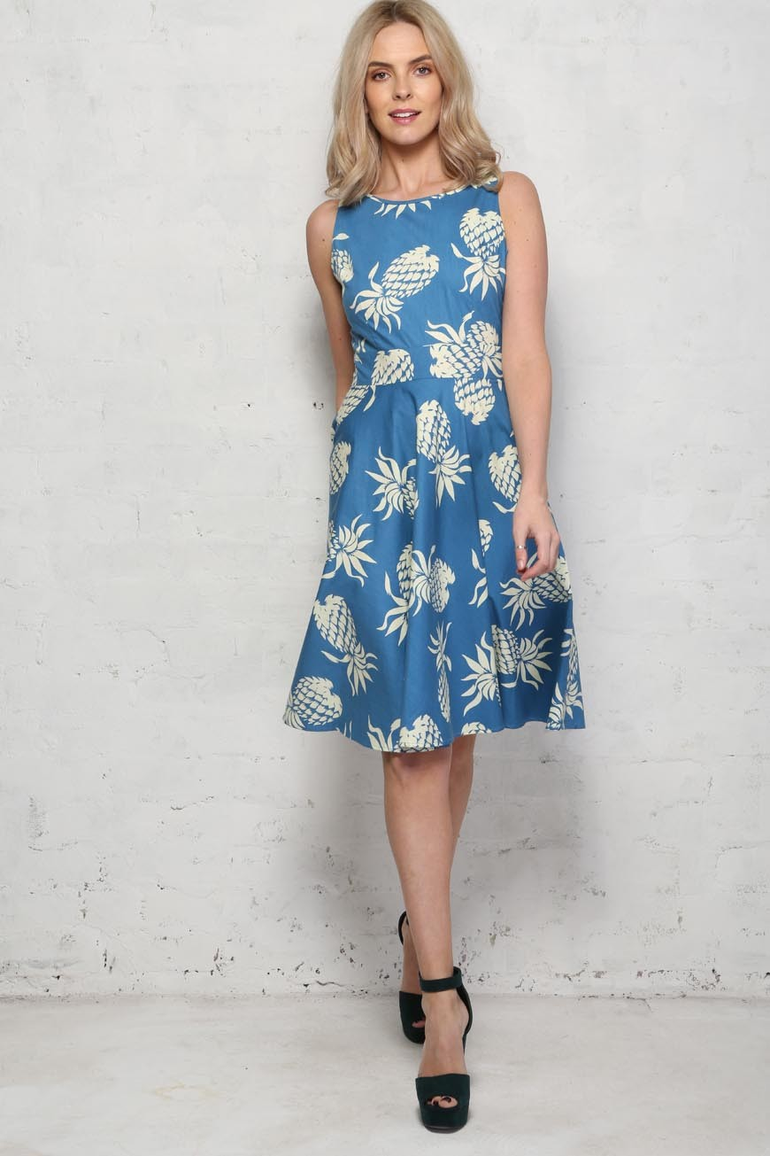Pineapple Print Prom Dress - Trollied Dolly