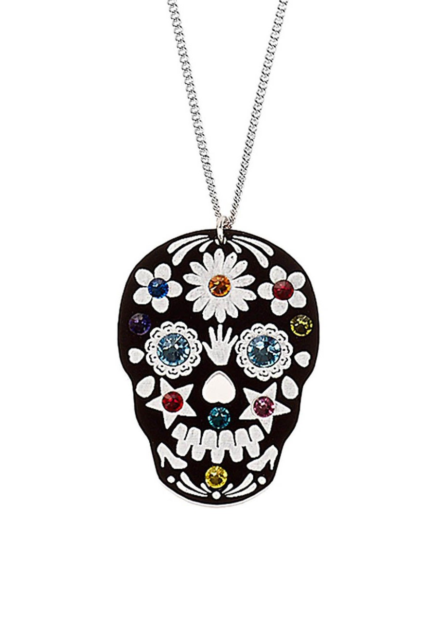 skull necklace sugar large de dia img products los pendant muertos flower cameo