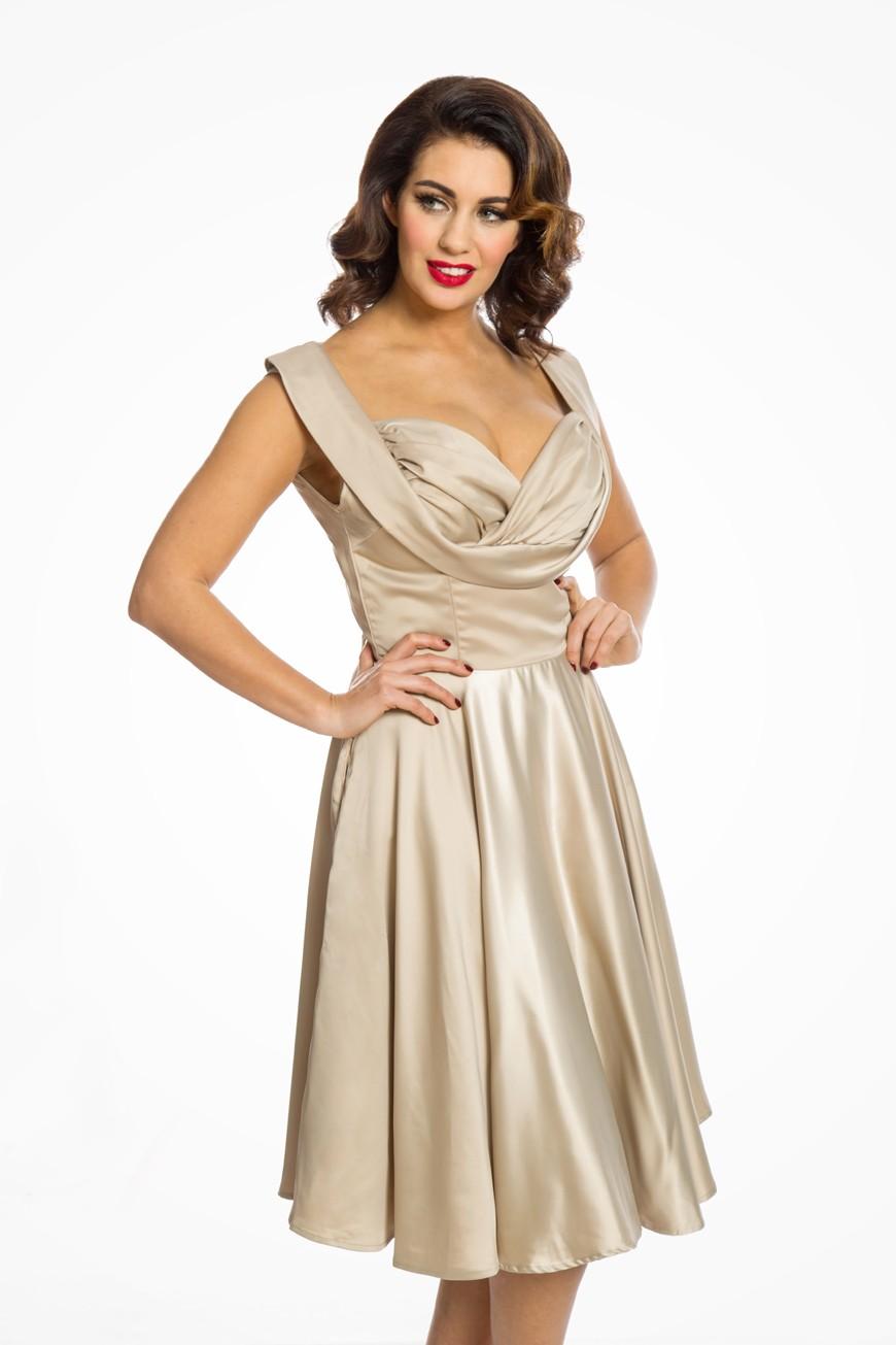 Gold Prom Dress Metallic Fit Amp Flare Dress Lindybop