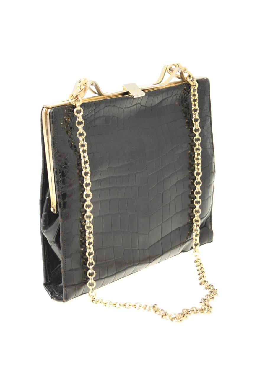 Vintage Chain Strap Bag - Black Croc Bag - Vintage Shoulder Bag be6d806d35b94