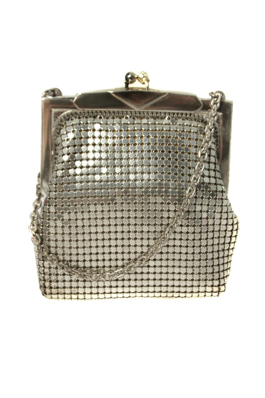 Vintage Silver Flapper Purse Whiting And Davis 1940s
