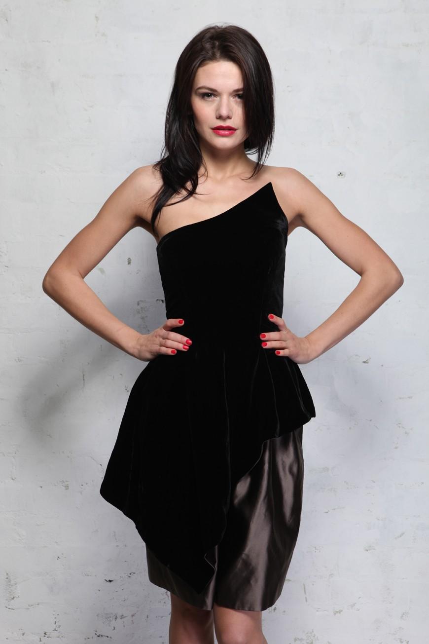 Vintage Lanvin Dress - black velvet peplum dress - designer party dress