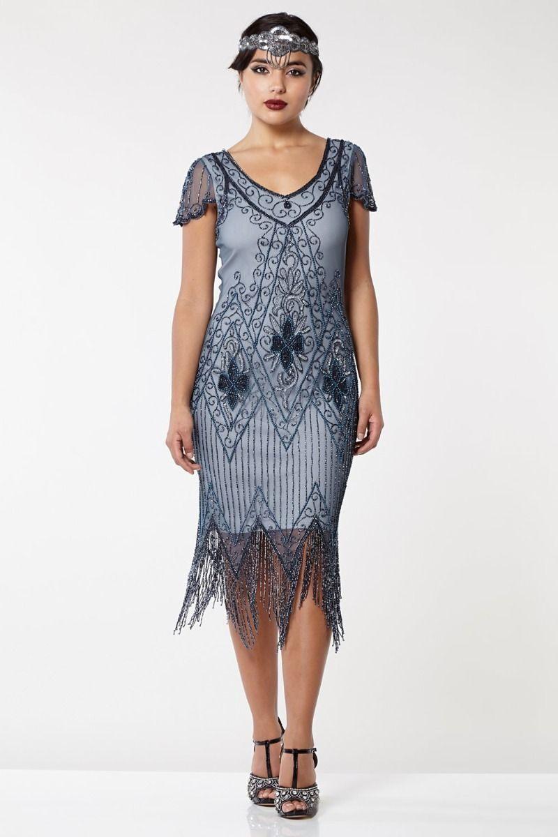 1920s Dresses UK | Flapper Dresses, Gatsby Dress Blue Grey Fringed Flapper Dress £89.00 AT vintagedancer.com