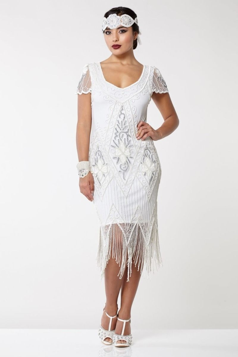 Vintage Inspired Wedding Dress | Vintage Style Wedding Dresses White Fringed Flapper Dress £89.00 AT vintagedancer.com