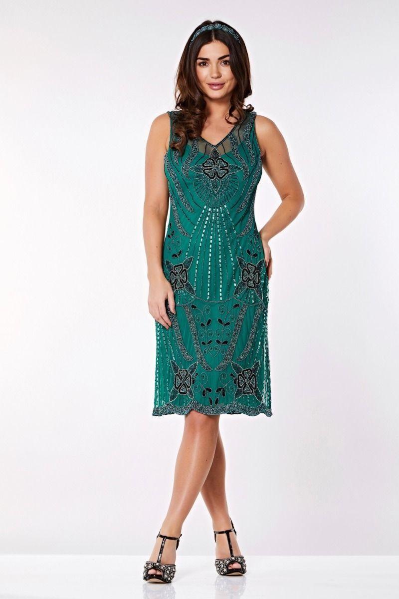 1920s Dresses UK | Flapper Dresses, Gatsby Dress Teal Flapper Style Dress £100.00 AT vintagedancer.com