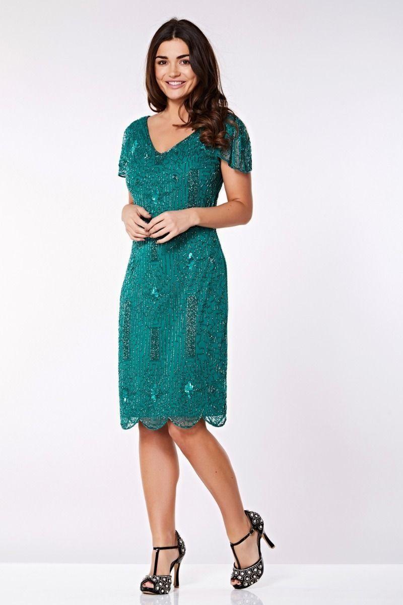 1920s Dresses UK | Flapper Dresses, Gatsby Dress Green Gatsby Flapper Dress £85.00 AT vintagedancer.com