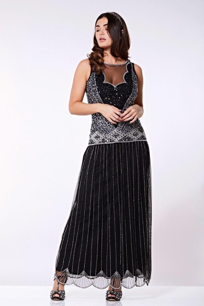 1920s Dresses UK | Flapper Dresses, Gatsby Dress Black And Silver Maxi Dress £125.00 AT vintagedancer.com