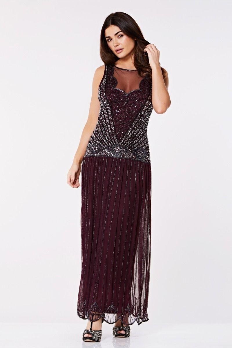1930s Dresses, Shoes, Lingerie, Clothing UK Red 1920s Maxi Dress £129.00 AT vintagedancer.com
