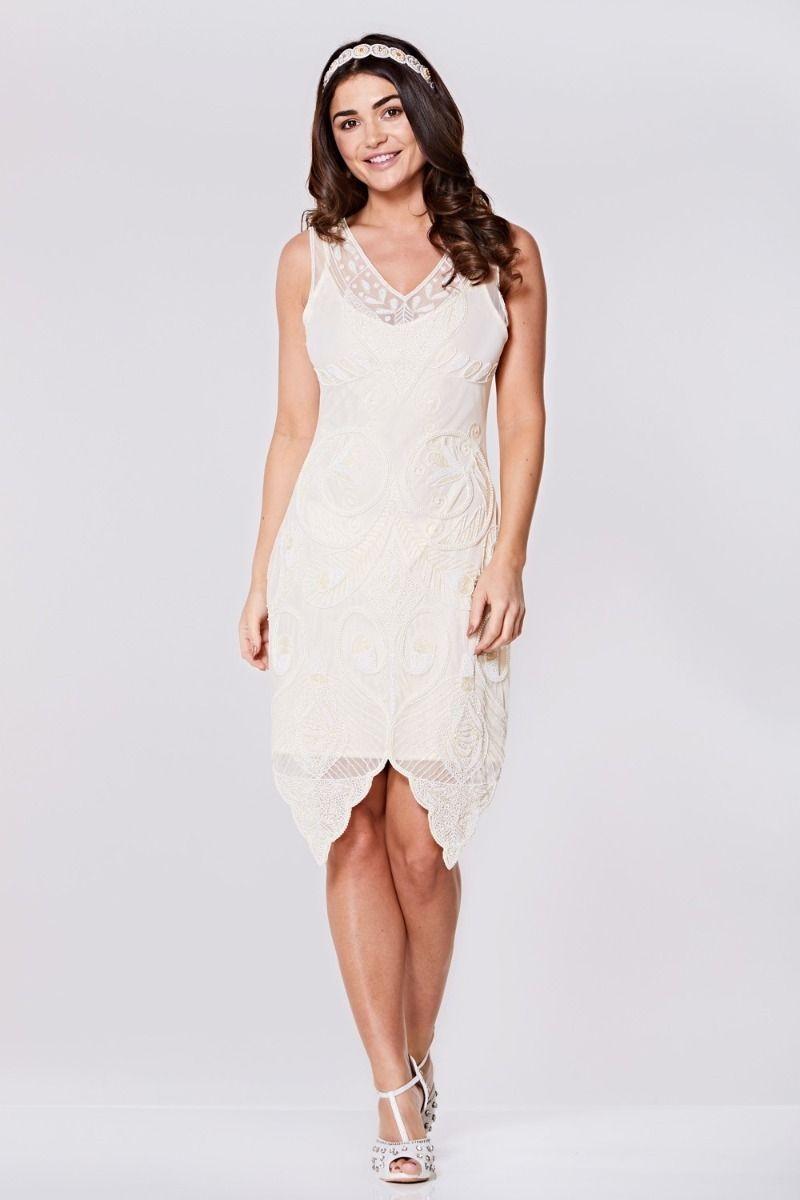 Vintage Style Wedding Dresses, Vintage Inspired Wedding Gowns Cream Peacock Flapper Dress £99.00 AT vintagedancer.com