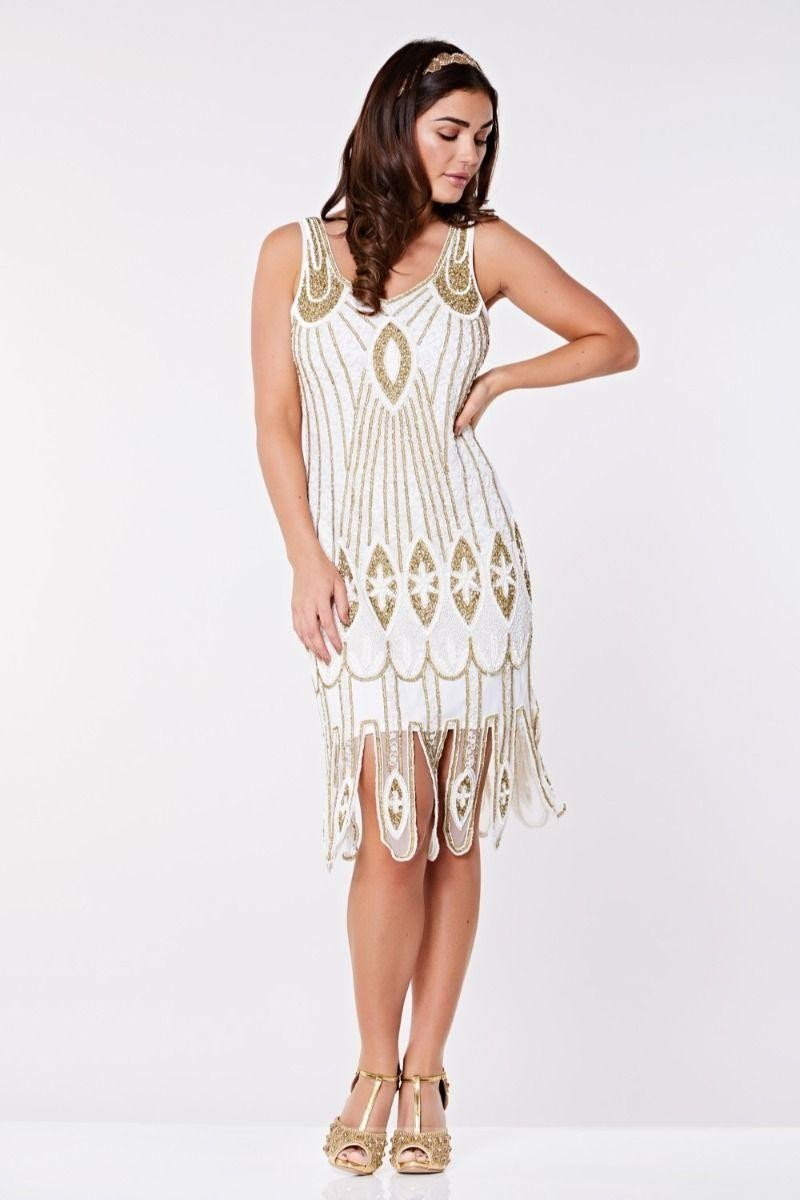 1920s Dresses UK | Flapper Dresses, Gatsby Dress White And Gold 1920s Dress £89.00 AT vintagedancer.com