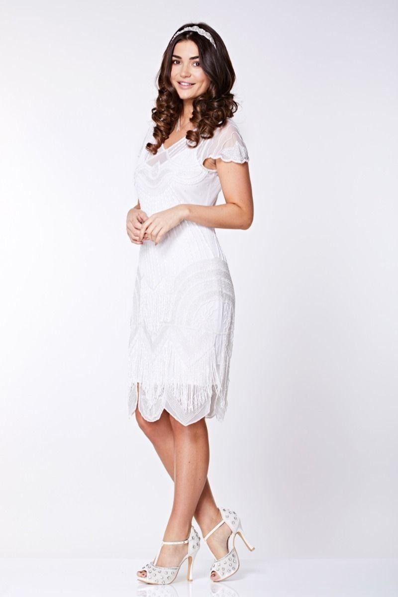 Vintage Inspired Wedding Dress | Vintage Style Wedding Dresses White Fringed 1920s Dress £139.00 AT vintagedancer.com
