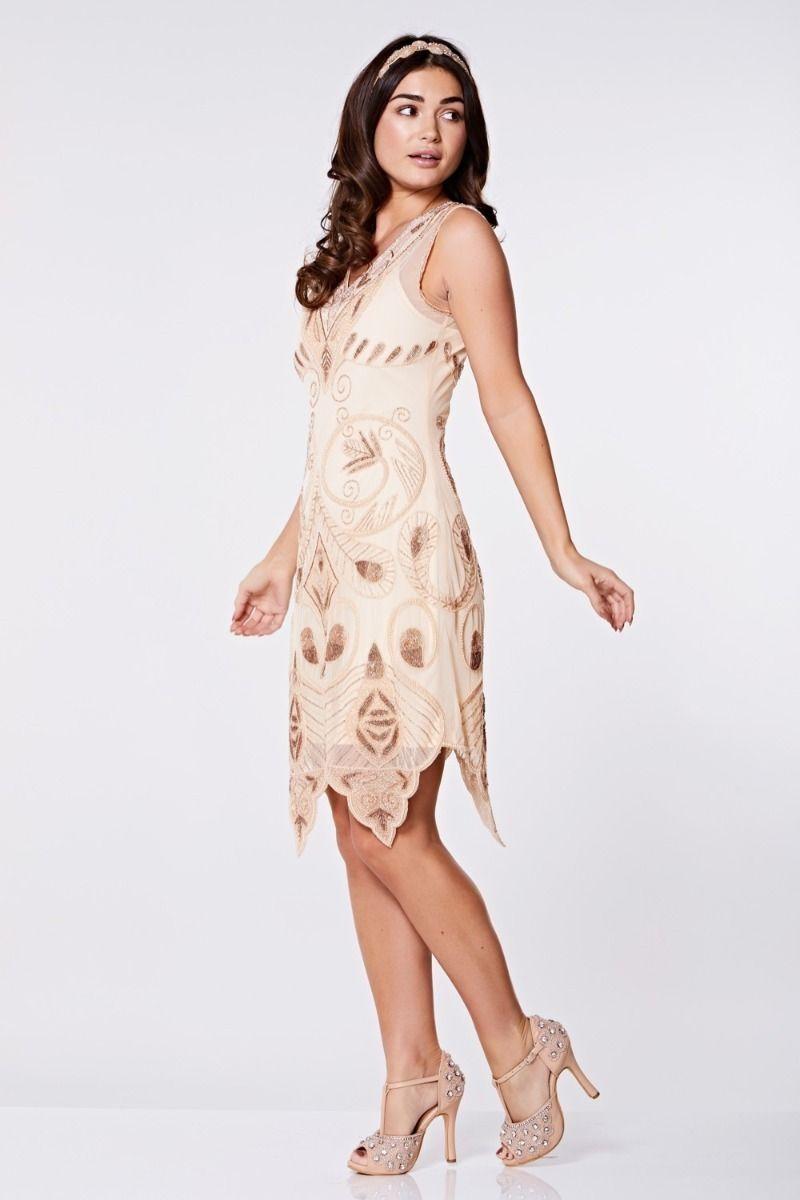 1920s Dresses UK | Flapper Dresses, Gatsby Dress Blush Scalloped Flapper Dress £99.00 AT vintagedancer.com