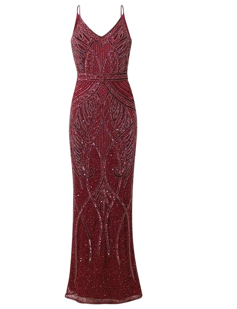 1920s Dresses UK | Flapper Dresses, Gatsby Dress Red Gatsby Maxi Dress £165.00 AT vintagedancer.com