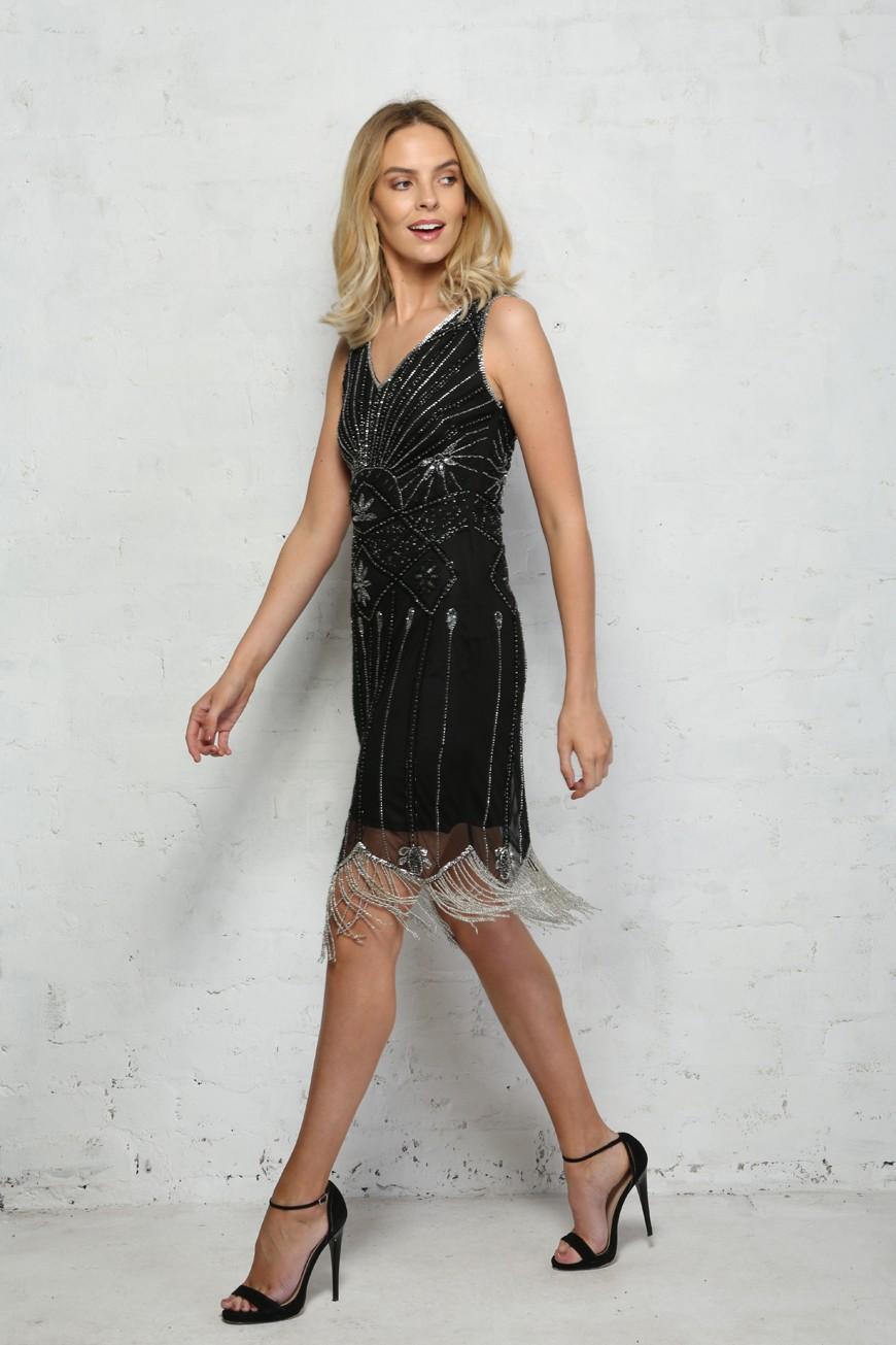 1920s Dresses UK | Flapper Dresses, Gatsby Dress Black Fringed Gatsby Dress £94.50 AT vintagedancer.com