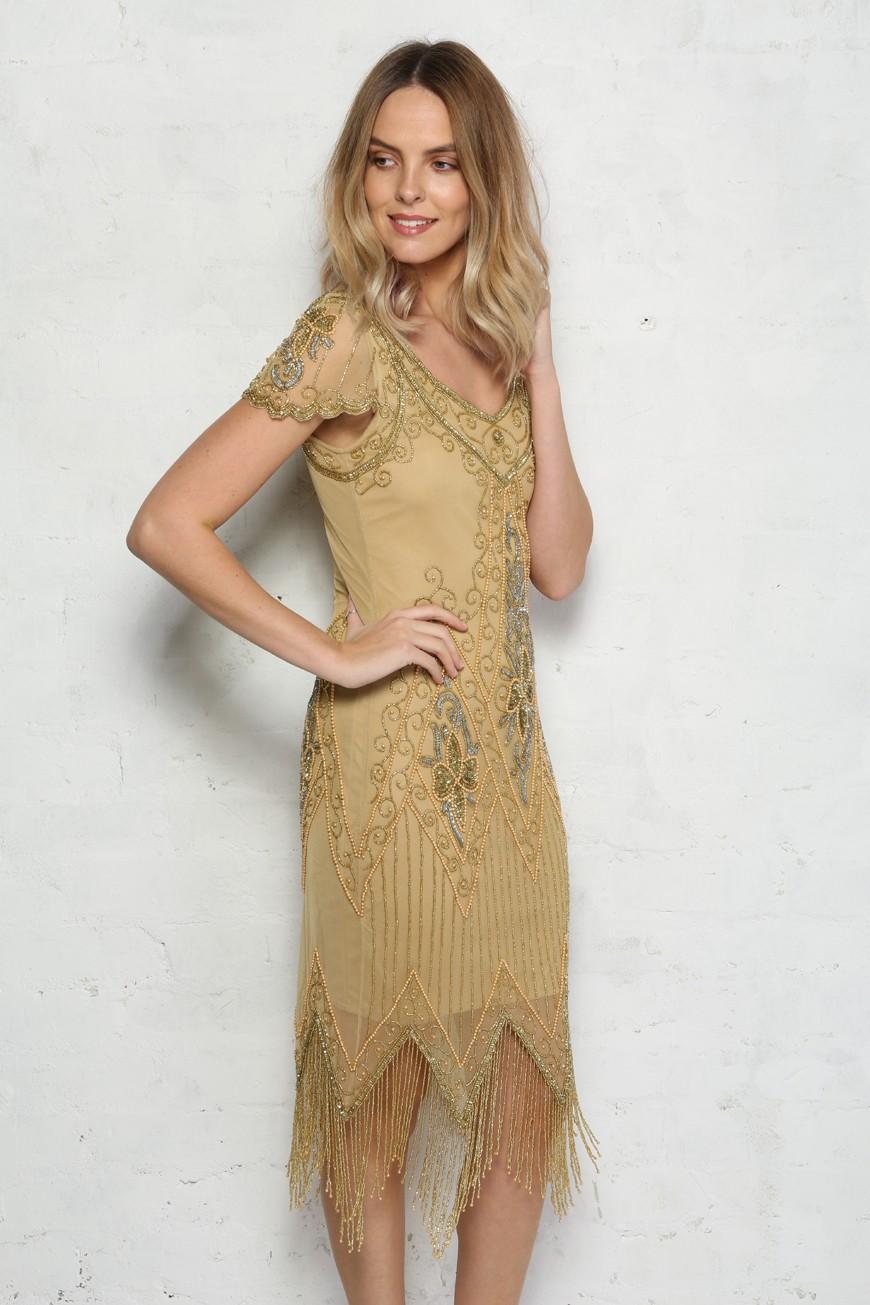 1920s Dresses UK | Flapper Dresses, Gatsby Dress Gold Fringed 1920s Dress £89.00 AT vintagedancer.com