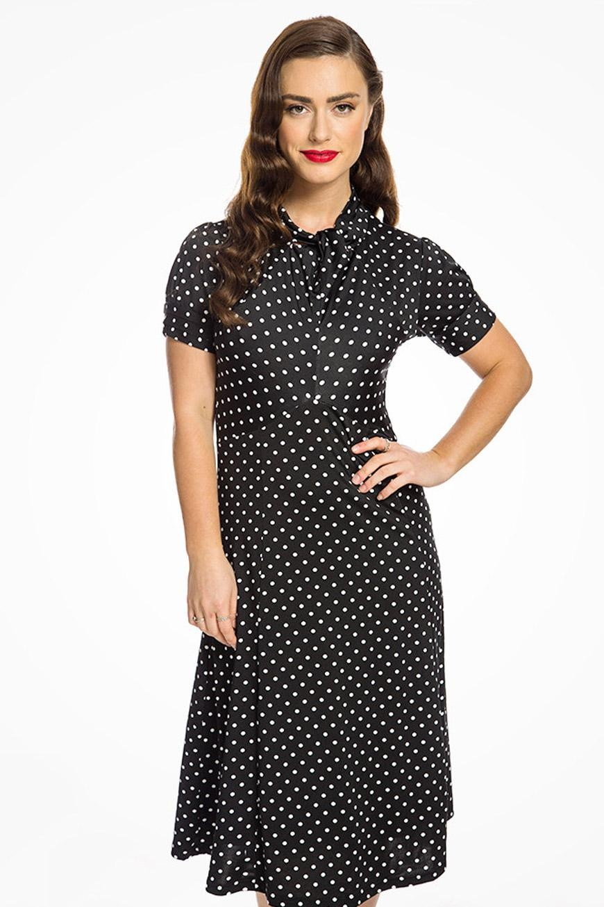 Polka Dot Dresses: 20s, 30s, 40s, 50s, 60s Black Polka Dot Tea Dress £32.00 AT vintagedancer.com
