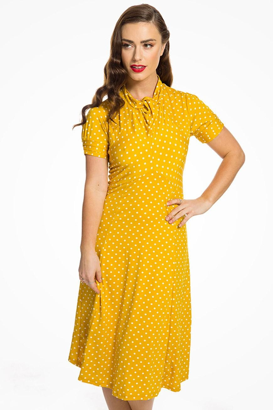 Polka Dot Dresses: 20s, 30s, 40s, 50s, 60s Mustard Polka Dot Tea Dress £32.00 AT vintagedancer.com