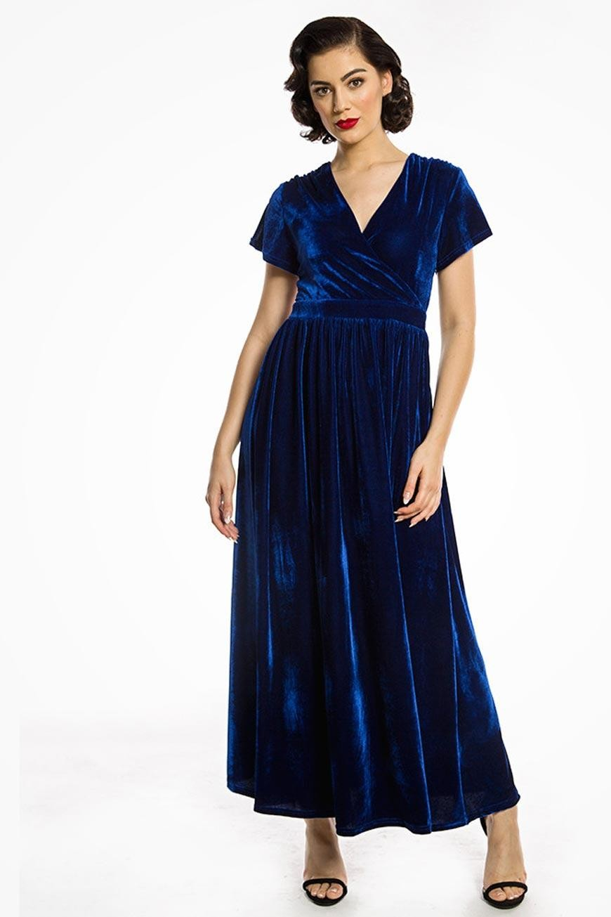 1930s Day Dresses, Afternoon Dresses History Blue Velvet Maxi Dress £40.00 AT vintagedancer.com