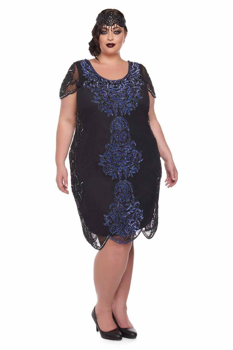 1920s Plus Size Flapper Dresses, Gatsby Dresses, Flapper Costumes Black Sleeved Flapper Dress £85.00 AT vintagedancer.com