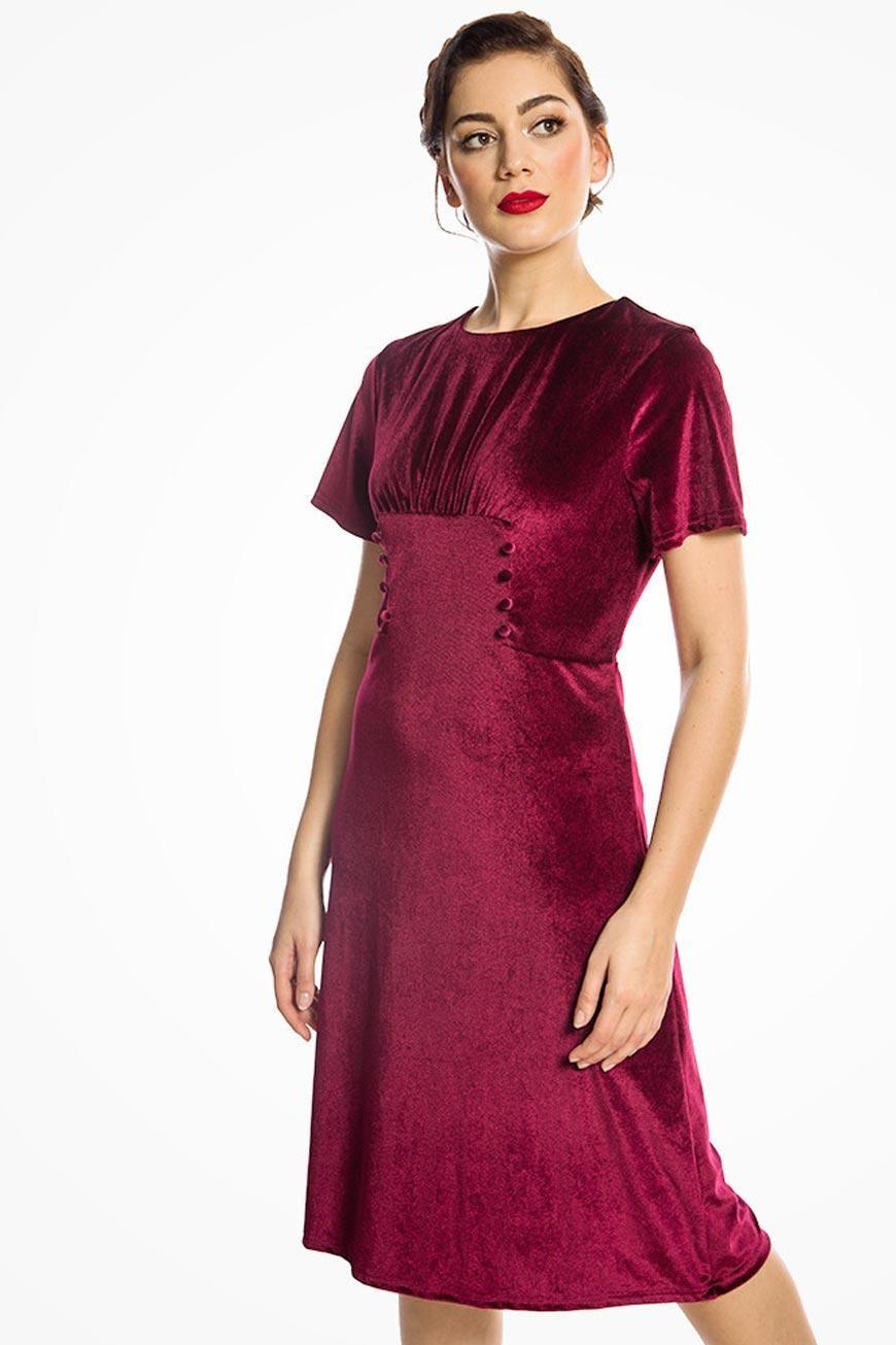 1940s Dresses and Clothing UK | 40s Shoes UK Red Velvet Tea Dress £35.00 AT vintagedancer.com