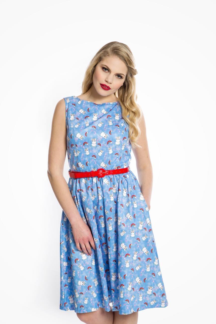 50s Dresses UK | 1950s Dresses, Shoes & Clothing Shops Unicorn Printed Tea Dress £35.00 AT vintagedancer.com