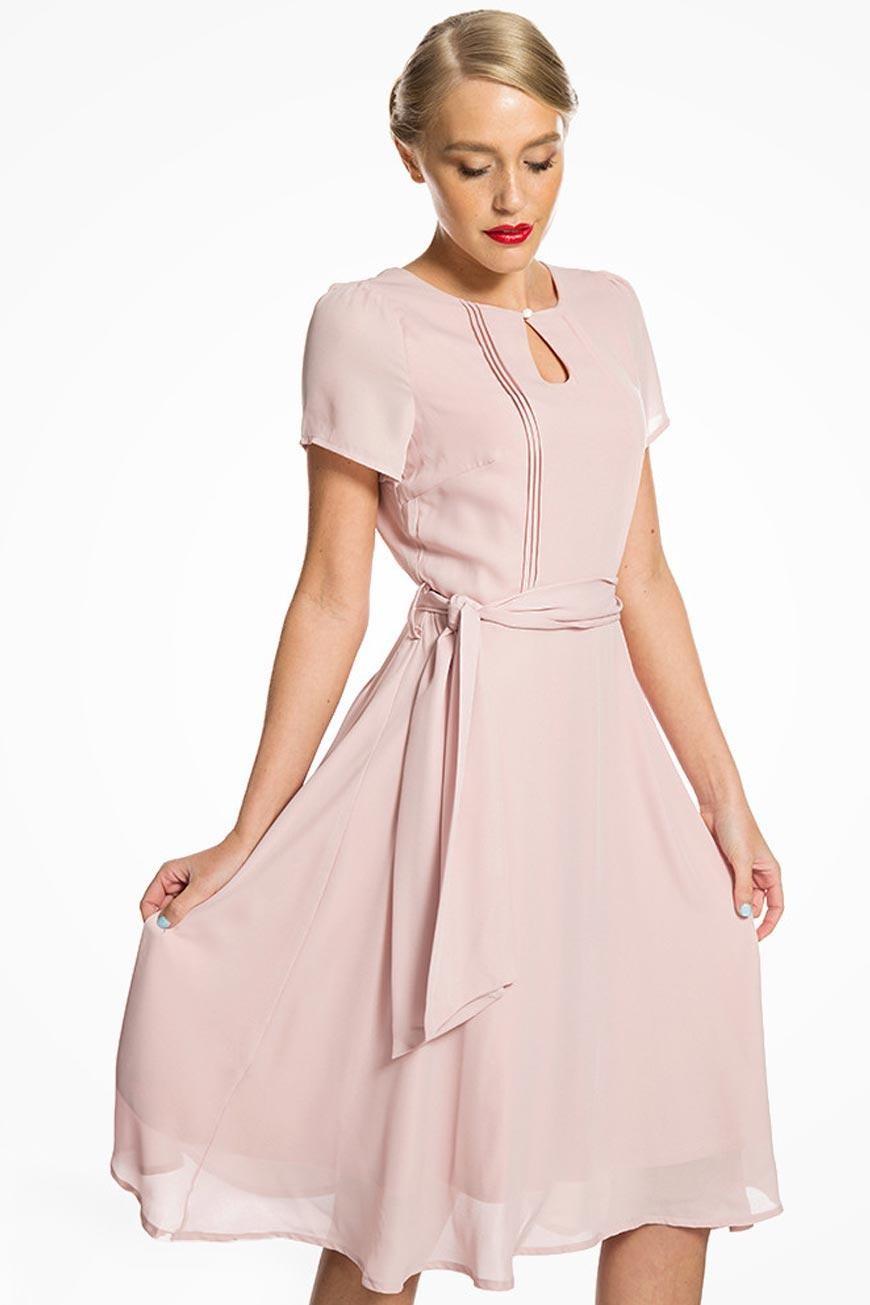 1940s Dresses and Clothing UK | 40s Shoes UK Blush Pink Tea Dress £32.00 AT vintagedancer.com