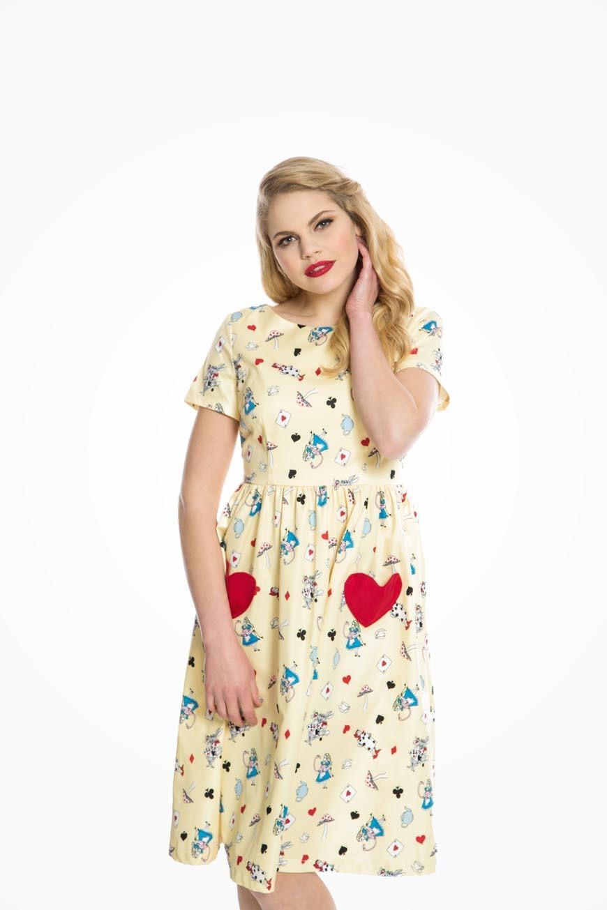 Rockabilly Dresses | Rockabilly Clothing | Viva Las Vegas Alice In Wonderland Tea Dress £35.00 AT vintagedancer.com