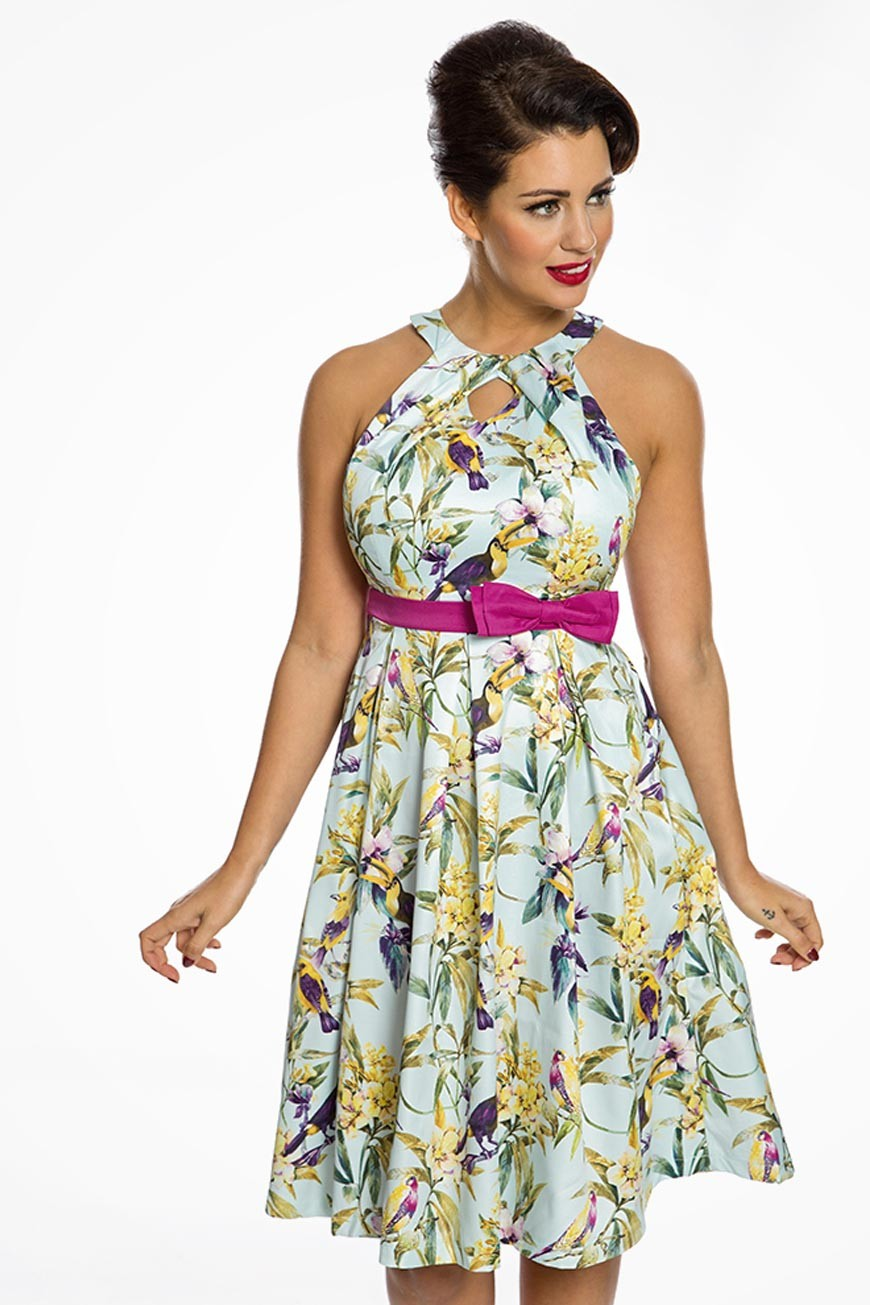 Pin Up Dresses | Pin Up Clothing Tropical Bird Print Prom Dress - Blue £37.00 AT vintagedancer.com