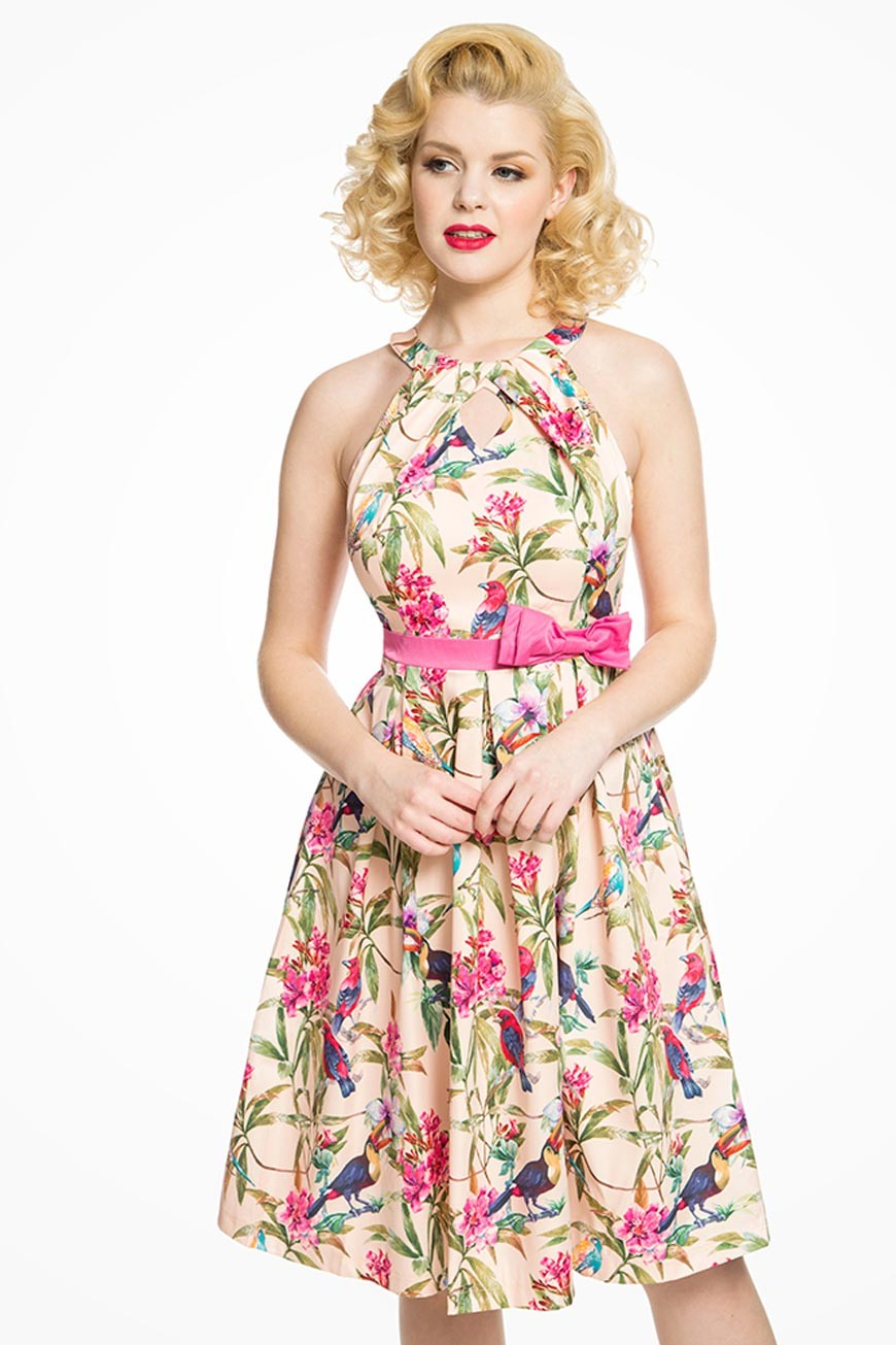 Pin Up Dresses | Pin Up Clothing Tropical Bird Print Prom Dress - Pink £37.00 AT vintagedancer.com