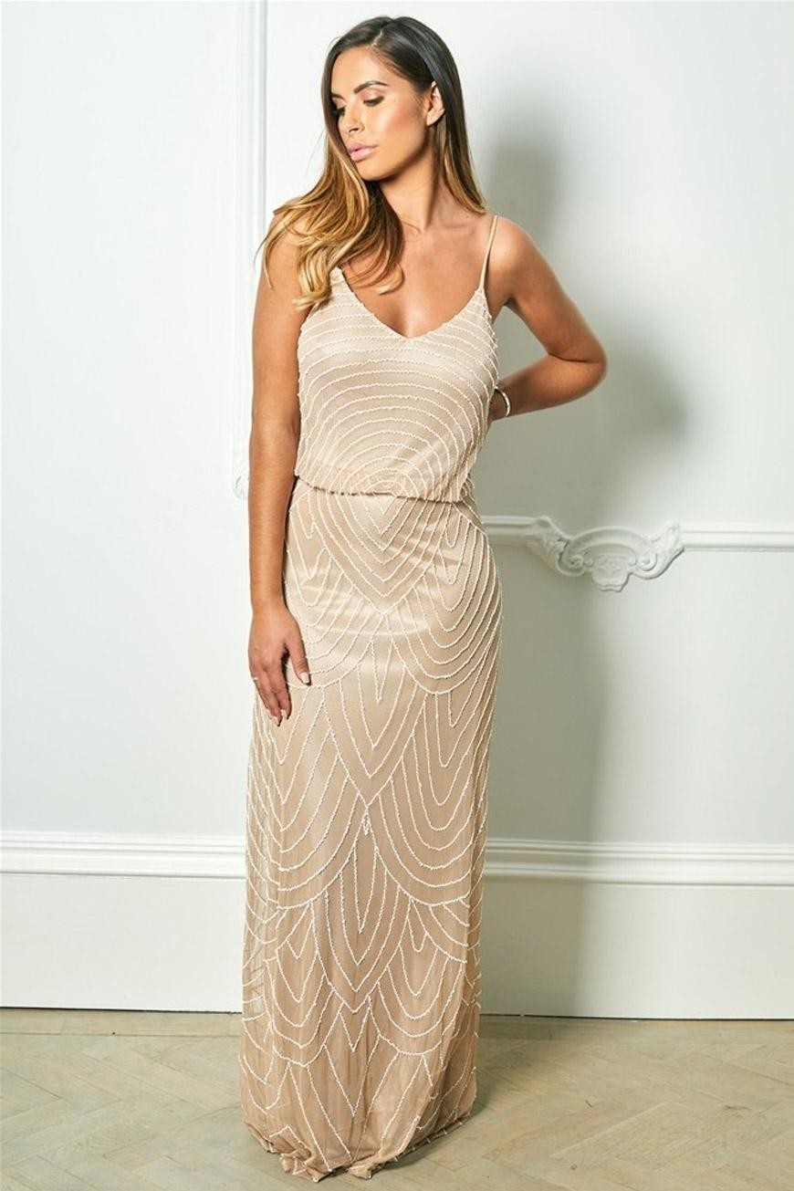 1930s Dresses, Shoes, Lingerie, Clothing UK Nude Art Deco Maxi Dress £145.00 AT vintagedancer.com