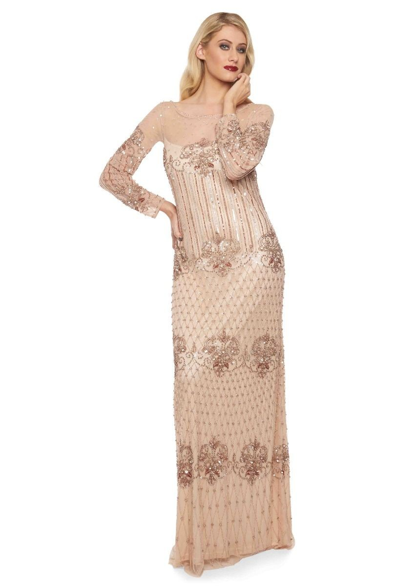 1920s Style Dresses, Flapper Dresses Champagne Art Deco Maxi £150.00 AT vintagedancer.com