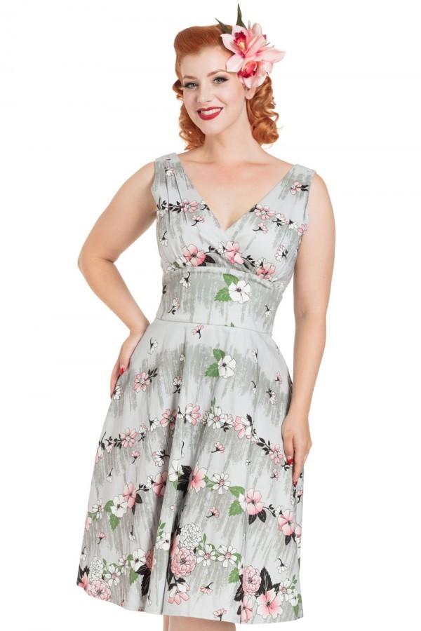 50s Dresses UK | 1950s Dresses, Shoes & Clothing Shops Grey Floral Prom Dress £47.00 AT vintagedancer.com