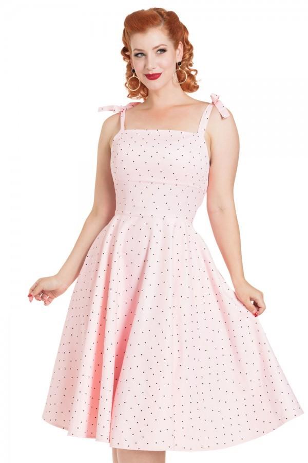 Rockabilly Dresses | Rockabilly Clothing | Viva Las Vegas Pink Polka Dot Dress £63.00 AT vintagedancer.com