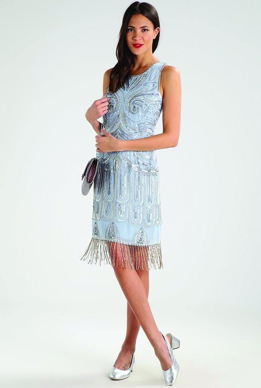 1920s Style Dresses, Flapper Dresses Pale Blue Embellished Dress £72.50 AT vintagedancer.com