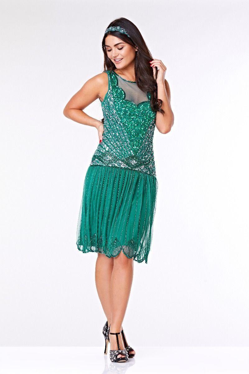 1920s Dresses UK | Flapper Dresses, Gatsby Dress Teal 1920s Dress £89.00 AT vintagedancer.com