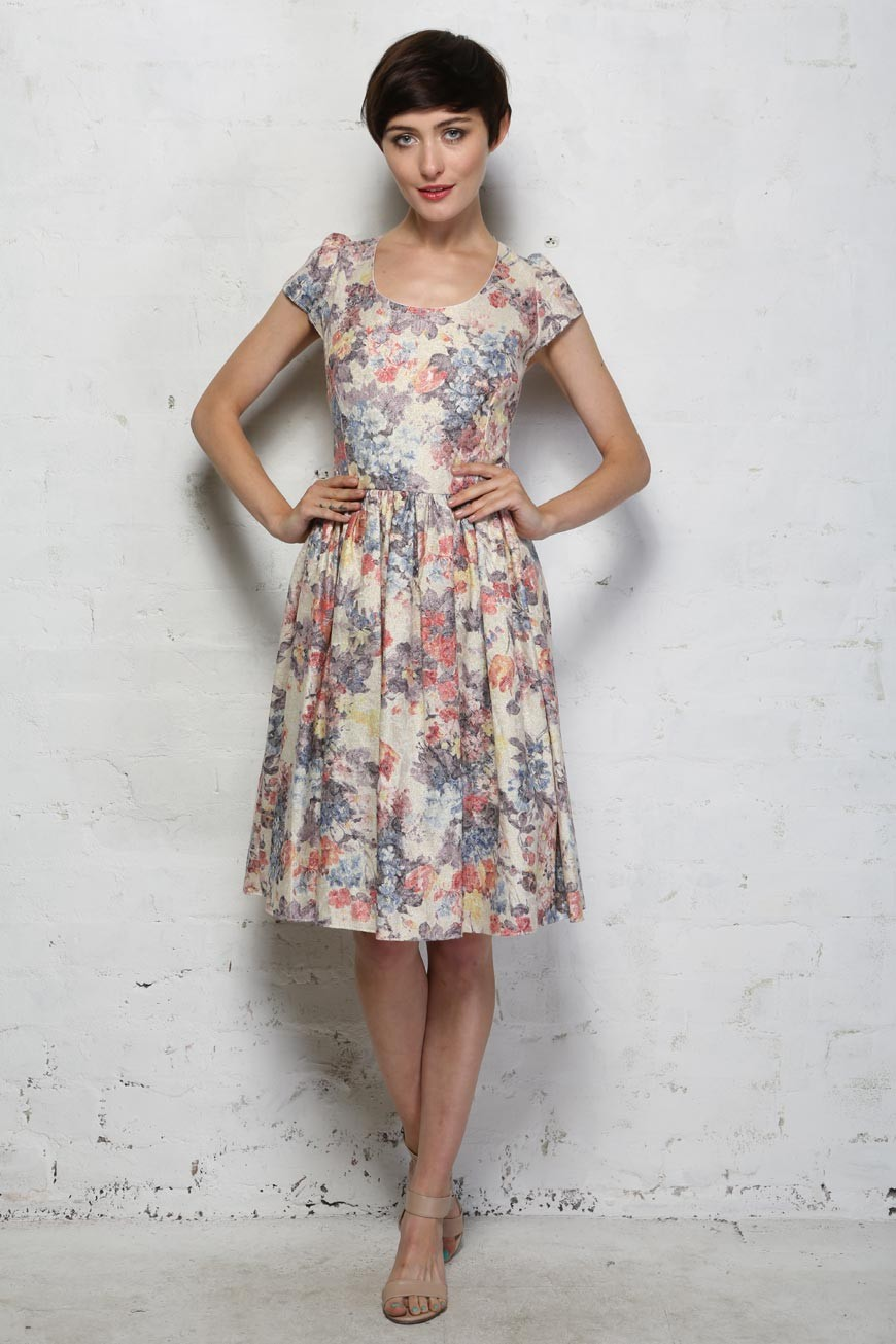 Vintage Tea Dresses, Floral Tea Dresses, Tea Length Dresses Eucalyptus Ramona Dress £35.00 AT vintagedancer.com