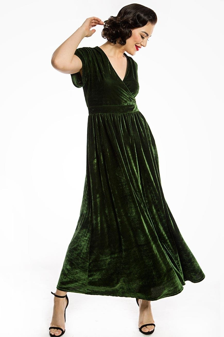 1930s Day Dresses, Afternoon Dresses History Green Velvet Maxi Dress £40.00 AT vintagedancer.com
