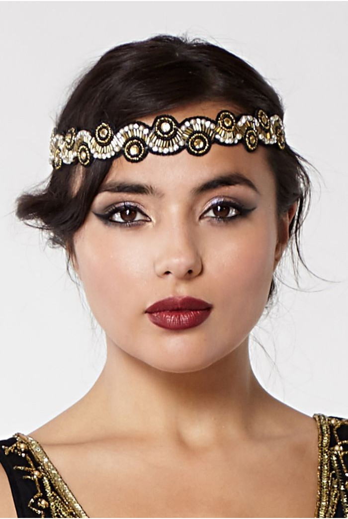 1920s Hairstyles History- Long Hair to Bobbed Hair Black And Gold Headband £19.00 AT vintagedancer.com