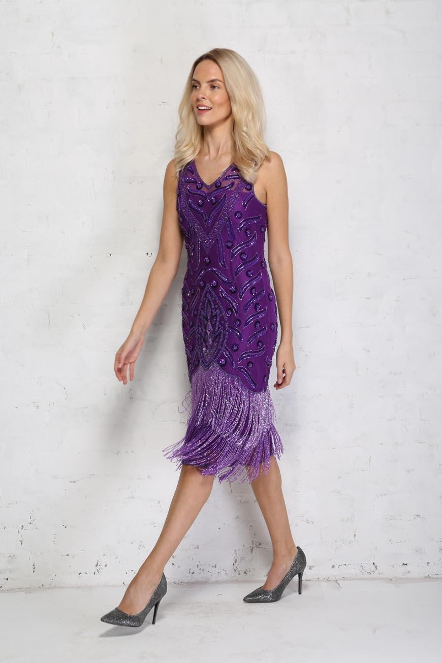 1920s Dresses UK | Flapper Dresses, Gatsby Dress Purple Fringed 1920s Dress £125.00 AT vintagedancer.com