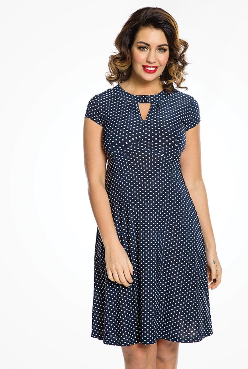 Polka Dot Dresses: 20s, 30s, 40s, 50s, 60s Navy Polka Dot Tea Dress £25.00 AT vintagedancer.com