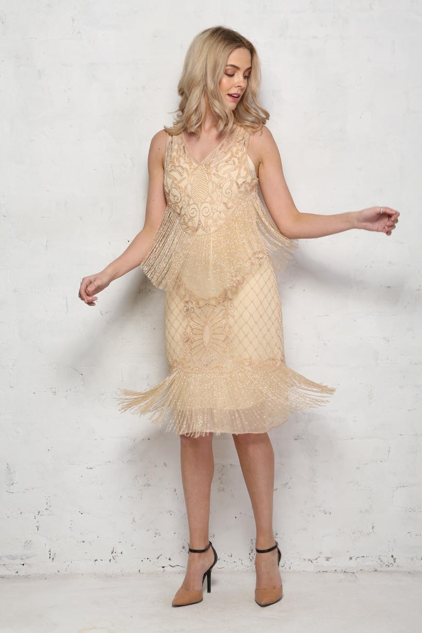 1920s Style Dresses, Flapper Dresses Blush Fringed Flapper Dress £129.00 AT vintagedancer.com