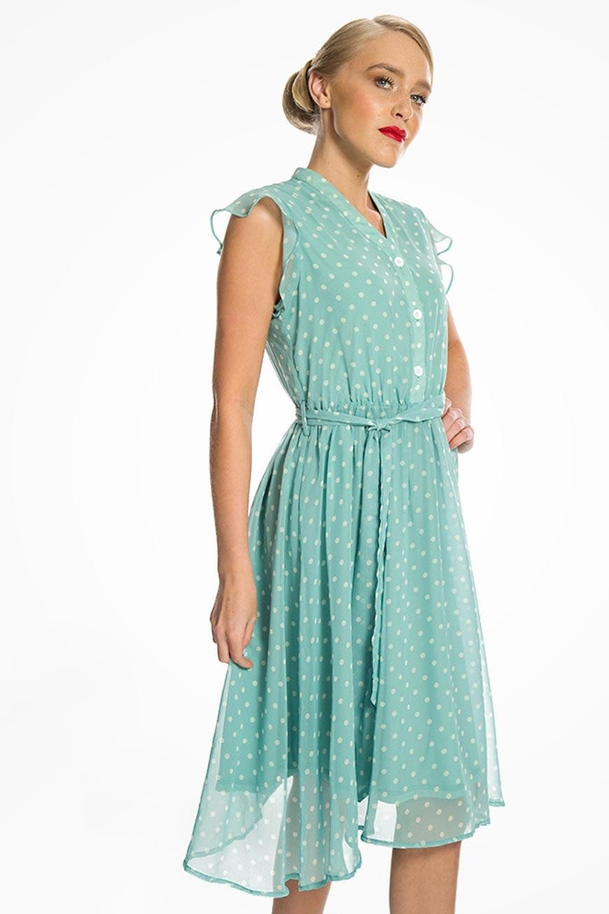 Polka Dot Dresses: 20s, 30s, 40s, 50s, 60s Green Polka Dot Tea Dress £32.00 AT vintagedancer.com