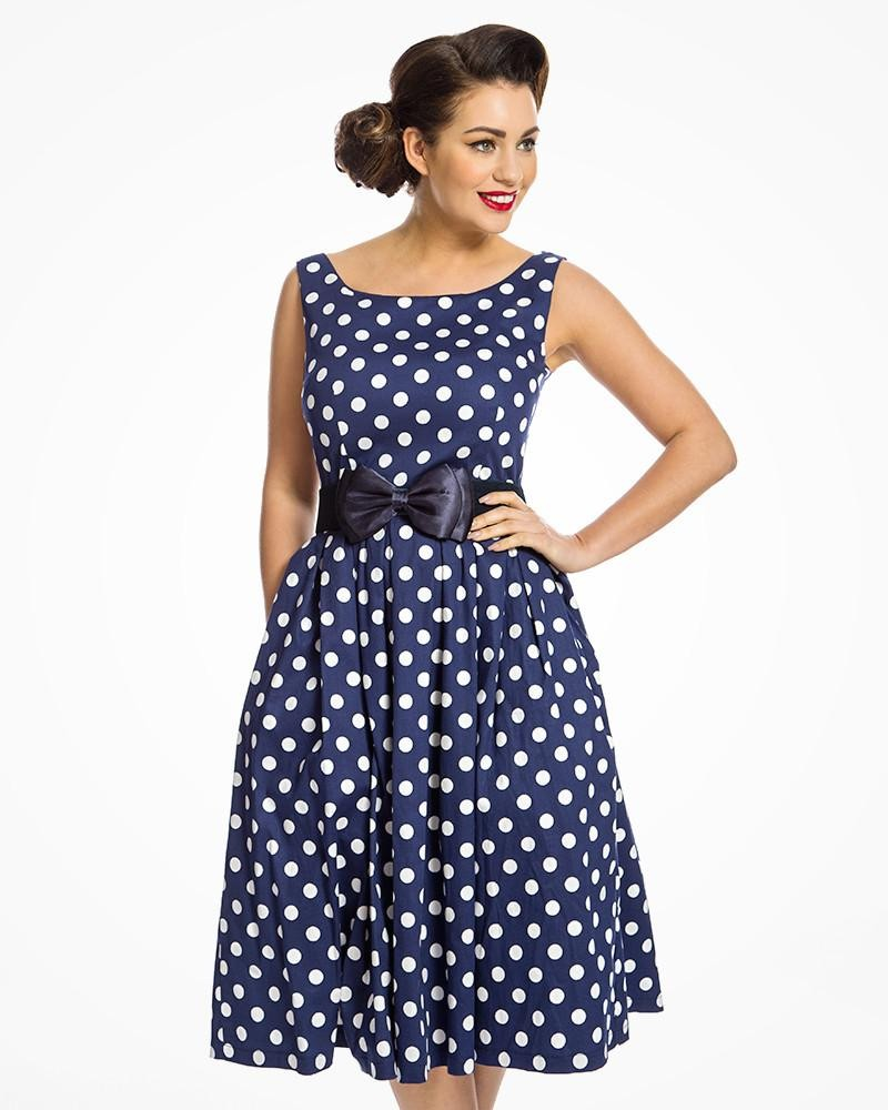 8e4893137a7f 1950s Swing Dresses | 50s Swing Dress Navy Polka Dot Prom Dress  38.00 AT  vintagedancer