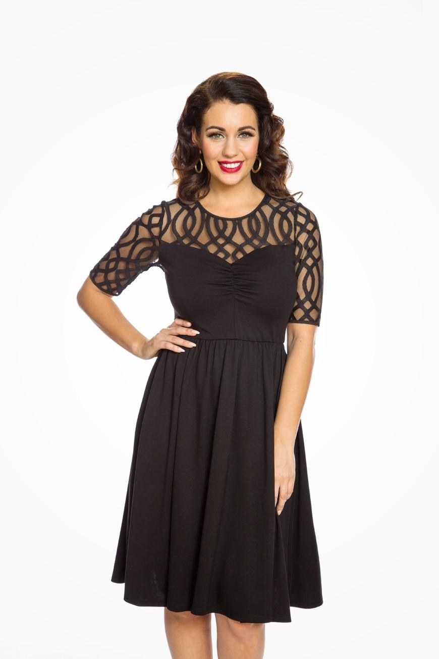 50s Dresses UK | 1950s Dresses, Shoes & Clothing Shops Black Lace Swing Dress £40.00 AT vintagedancer.com