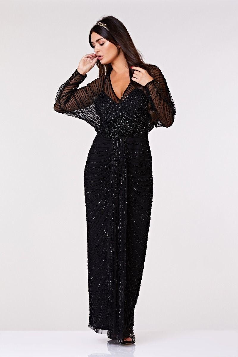 Edwardian Evening Gowns | Victorian Evening Dresses Great Gatsby Maxi Dress £189.00 AT vintagedancer.com