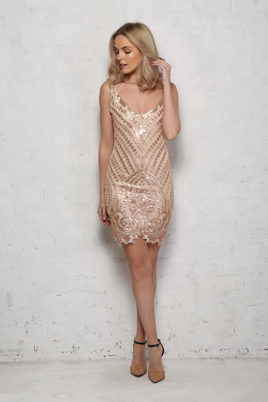 1920s Style Dresses, Flapper Dresses Nude and Gold Flapper Dress £65.00 AT vintagedancer.com