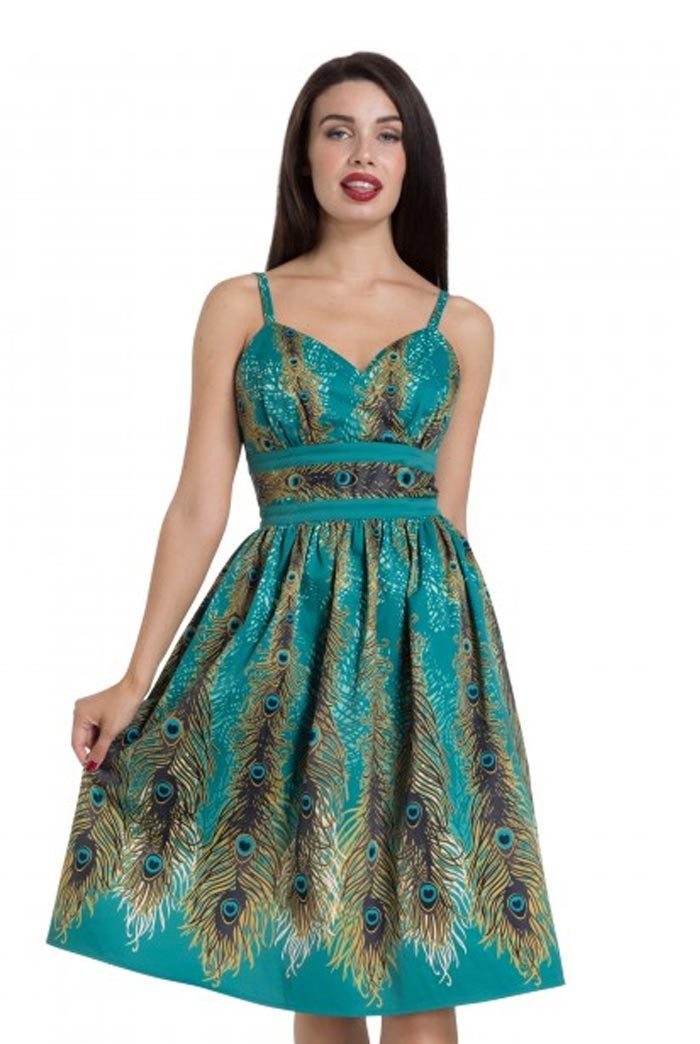 1950s Prom Dresses & Party Dresses Peacock Print Prom Dress £60.00 AT vintagedancer.com